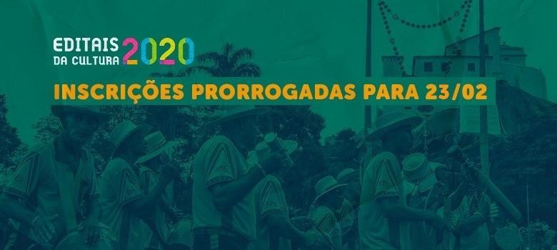 Editais da Cultura 2020: inscrições prorrogadas até 23/02