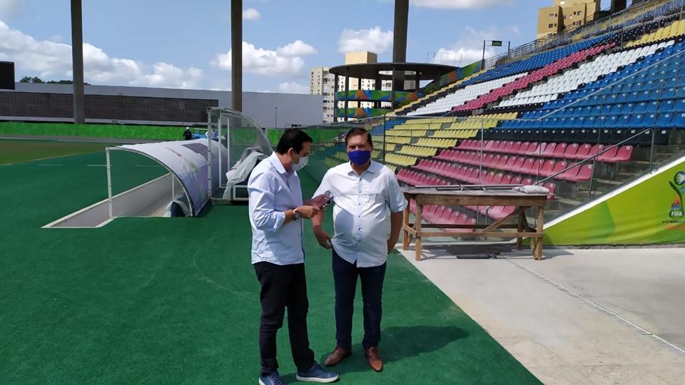 Sesport realiza vistoria nas obras do Estádio Estadual Kleber Andrade