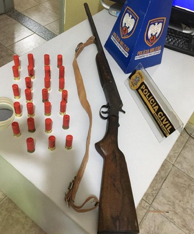 Apreensão de arma é realizado pelas Polícias Civil e Militar em operação no município de Ecoporanga