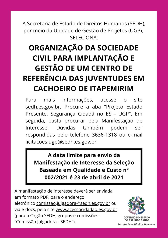 Governo do Estado publica manifestação de interesse para implantar e gerir CRJ em Cachoeiro de Itapemirim