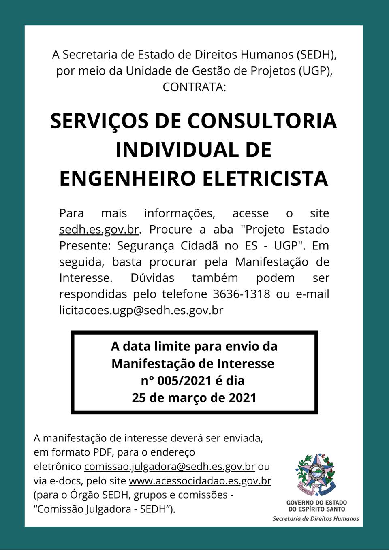 SEDH publica manifestação de interesse para contratar consultoria individual de engenheiro eletricista
