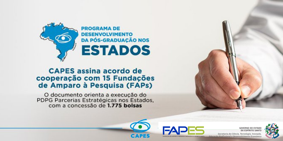 Capes e Fapes vão oferecer 75 bolsas para Programas de Desenvolvimento da Pós-Graduação no Estado