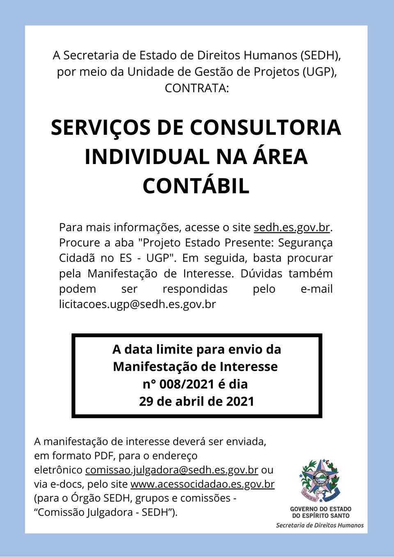 SEDH publica manifestação de interesse para contratação de serviços de consultoria individual na área contábil