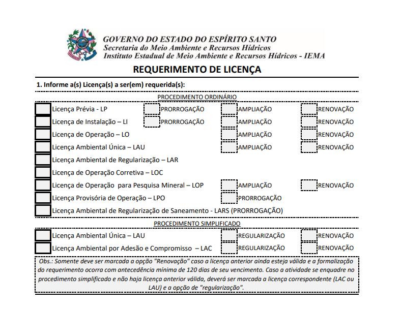 Iema adota novo formulário de requerimento de licença ambiental a partir de segunda-feira (1º)