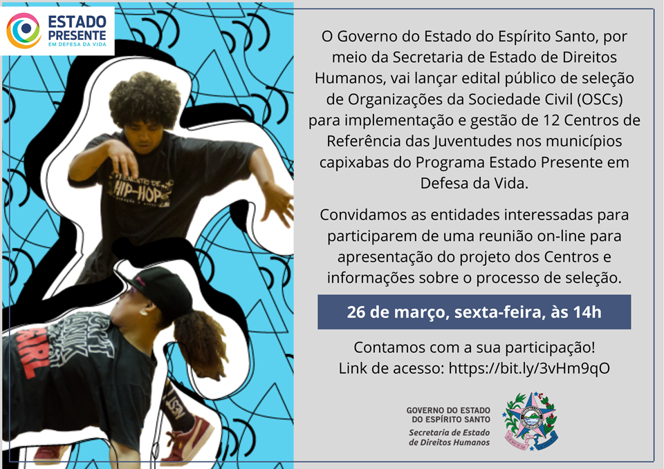 SEDH convida Organizações da Sociedade Civil para reunião de apresentação do projeto dos Centros de Referência das Juventudes