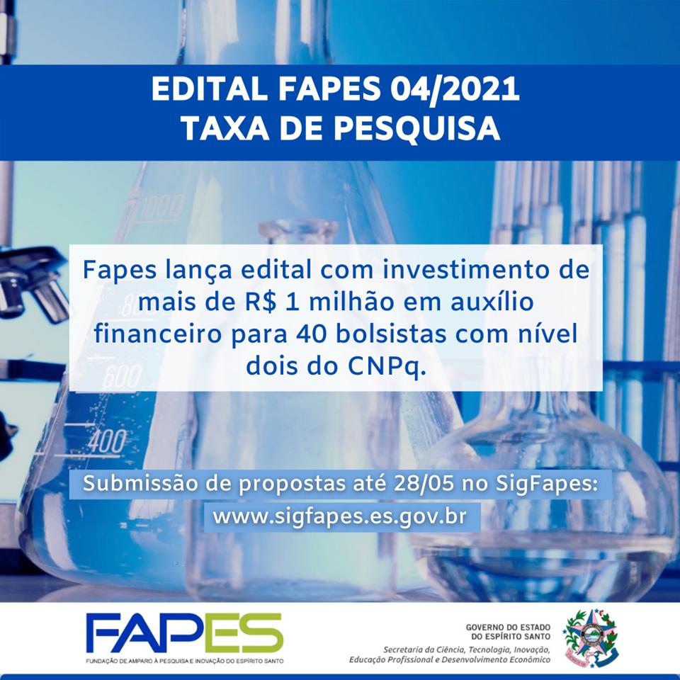 Fapes abre Edital Taxa de Pesquisa com investimento de mais de R$ 1 milhão para 40 auxílios financeiros