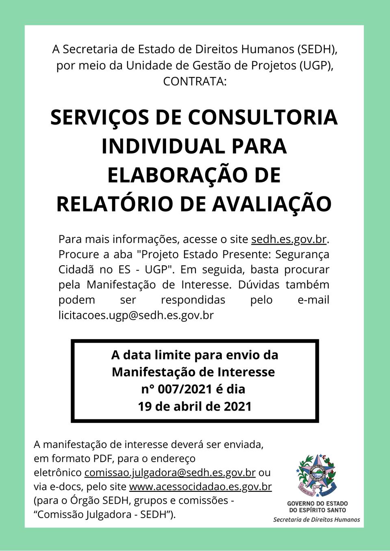 SEDH publica manifestação de interesse para contratação de consultoria individual