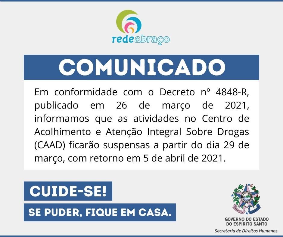 CAAD tem atividades temporariamente suspensas após publicação de decreto