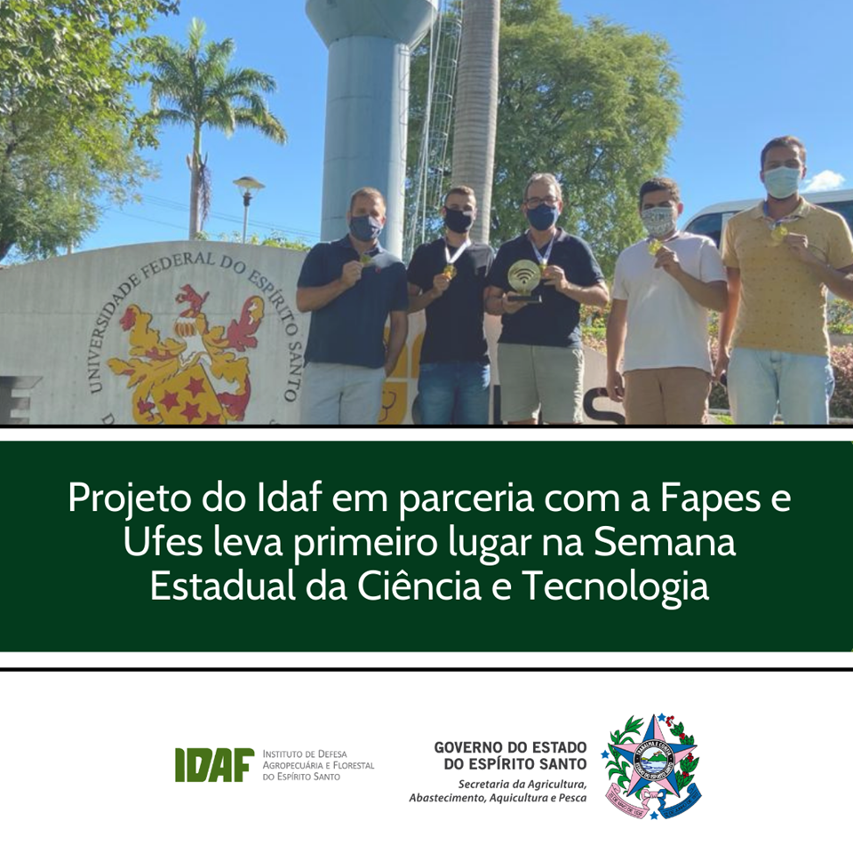 Projeto do Idaf em parceria com Fapes e Ufes leva primeiro lugar na Semana Estadual da Ciência e Tecnologia