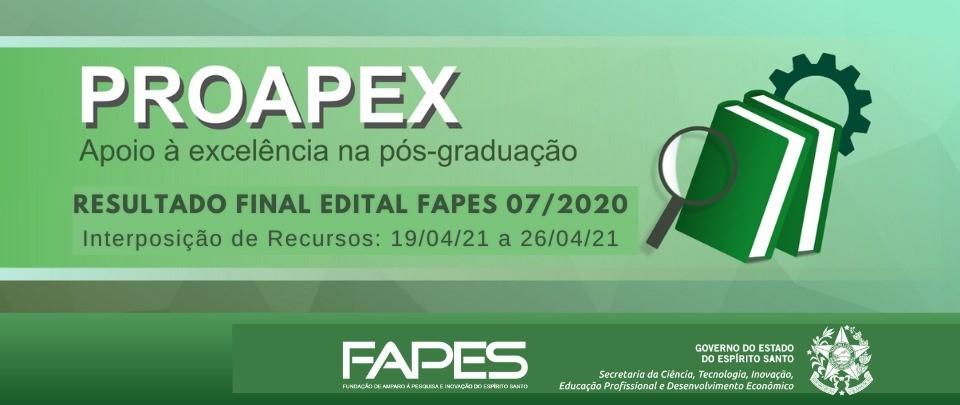 Fapes divulga resultado preliminar do Edital Proapex que investe R$ 7 milhões em Programas de Pós-Graduação capixabas