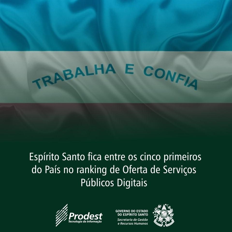 Espírito Santo fica em 5° lugar no ranking nacional de Oferta de Serviços Públicos Digitais