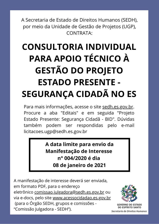 SEDH publica manifestação de interesse para contratar consultor individual