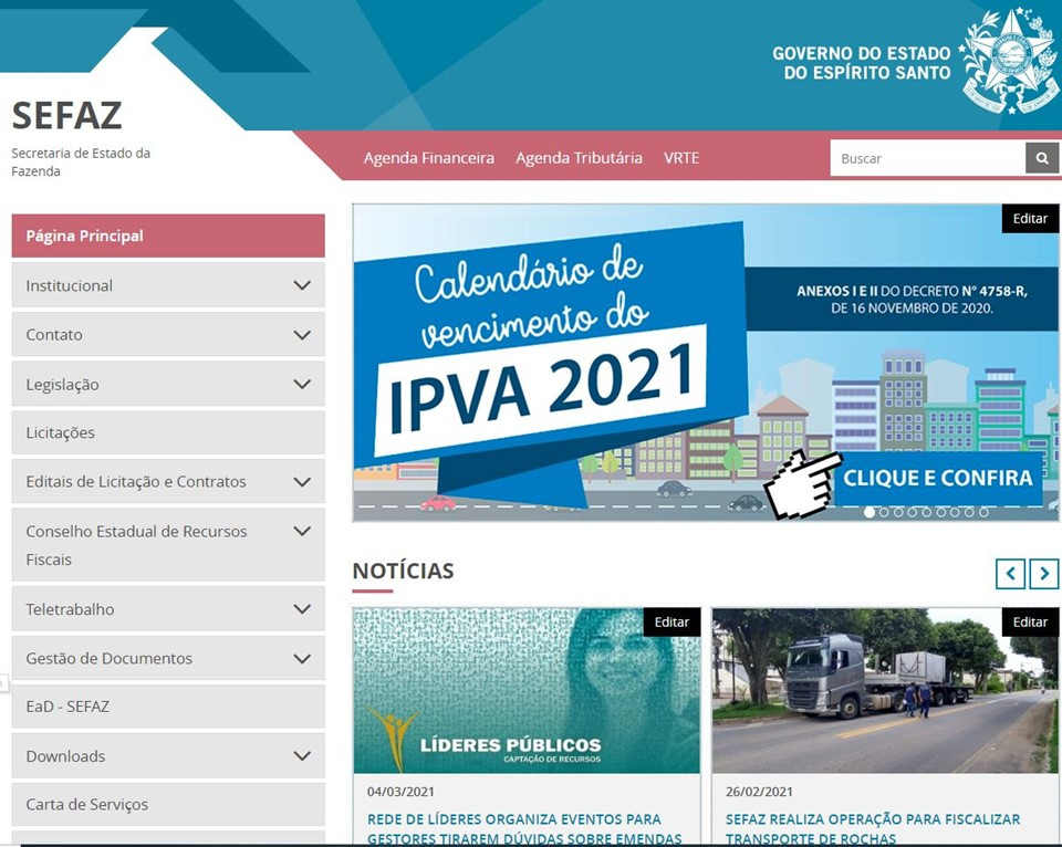 Sefaz moderniza site oficial e dá mais transparência para as informações