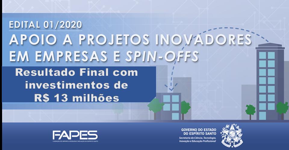 Fapes divulga resultado final de edital com investimento de R$ 13 milhões para inovações em empresas e spin-off