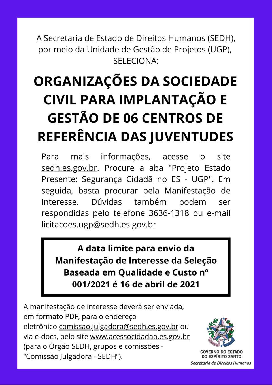 Governo do Estado publica manifestação de interesse para implantar e gerir CRJs