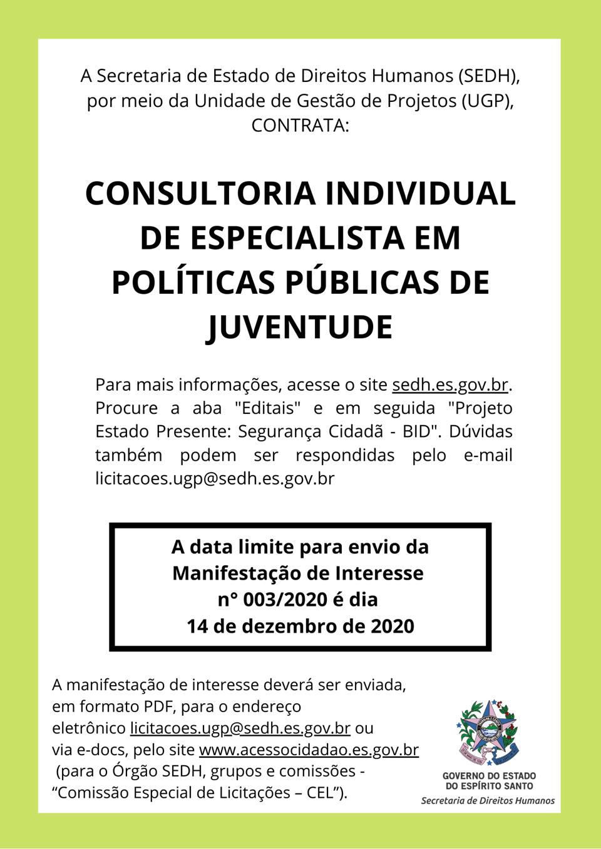 SEDH publica manifestação de interesse para contratar consultor individual em políticas públicas de juventude