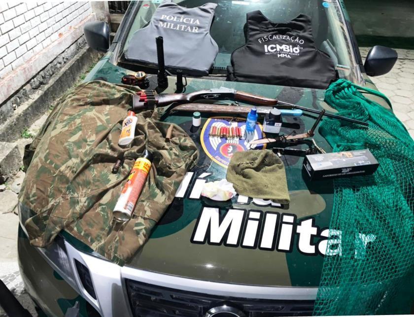 Polícia Militar Ambiental apreende armas, munições e petrechos de caça durante Operação no Norte do ES