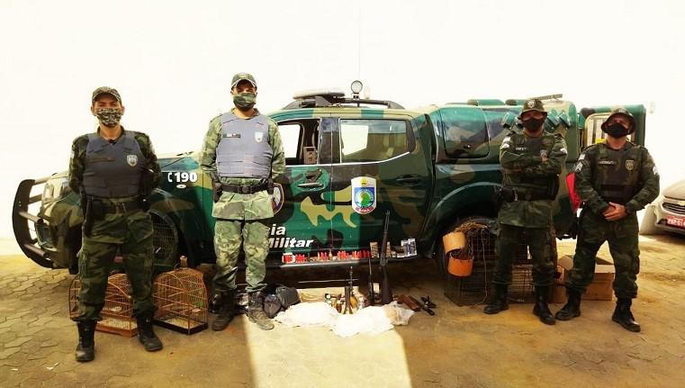 BPMA apreende armas e petrechos para caça em São Gabriel da Palha