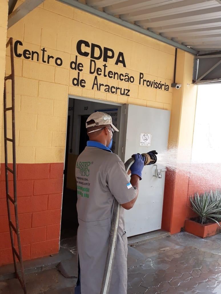 Ação de desinfecção é realizada em unidade prisional de Aracruz